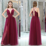 Long Prom Dresses, Tulle Prom Dresses, Deep V-Neck Party Dresses, Open-Back Evening Dresses, A-Line Prom Dress, Side Split Prom Dress, Sexy Prom Dress, LB0624