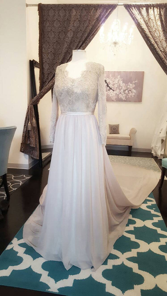 Charming Long Sleeve Lace Cheap Long Train Simple Wedding Dresses, WG628