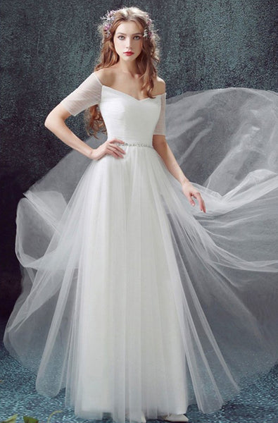 Long Wedding Dress, Tulle Wedding Dress, Vintage Bridal Dress, Short Sleeve Wedding Dress, Off Shoulder Wedding Dress, Beading Wedding Dress, A-Line Wedding Dress, LB0631