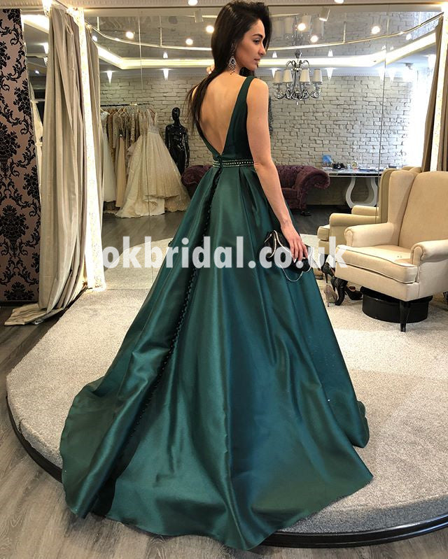 Charming Satin A-Line Prom Dresses, Beaded Sexy V-Back Prom Dresses, KX635