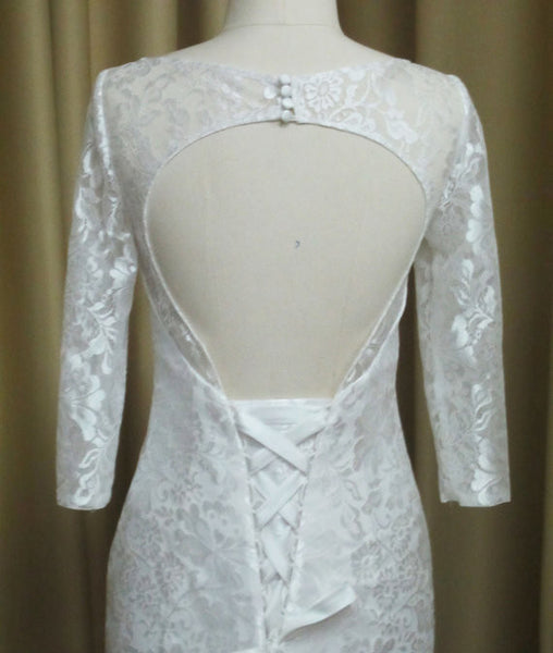 Long Sleeves Open Back Lace Up Online Cheap Long Wedding Dresses, WG636