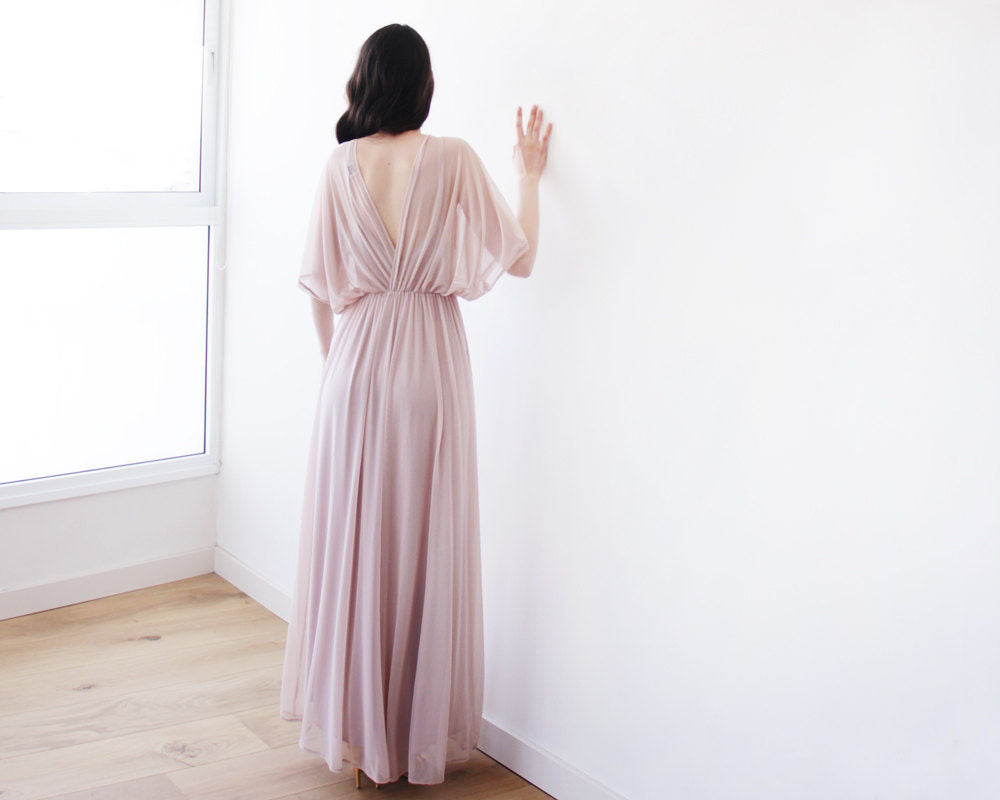 Long Chiffon V-Neck Bridesmaid Dress, Floor-Length Sexy Simple Design Bridesmaid Dress, LB0642