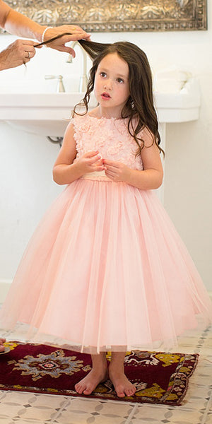 Pink A-Line Tulle Flower Girl Dresses, Popular Applique Little Girl Dresses, FC650