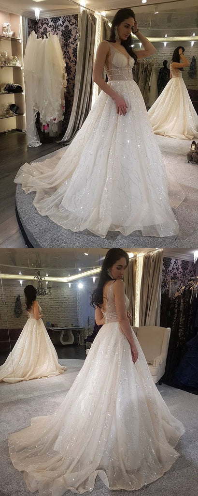 Sparkly Sequin A-Line Gorgeous Tulle V-Back Wedding Dresses, KX658