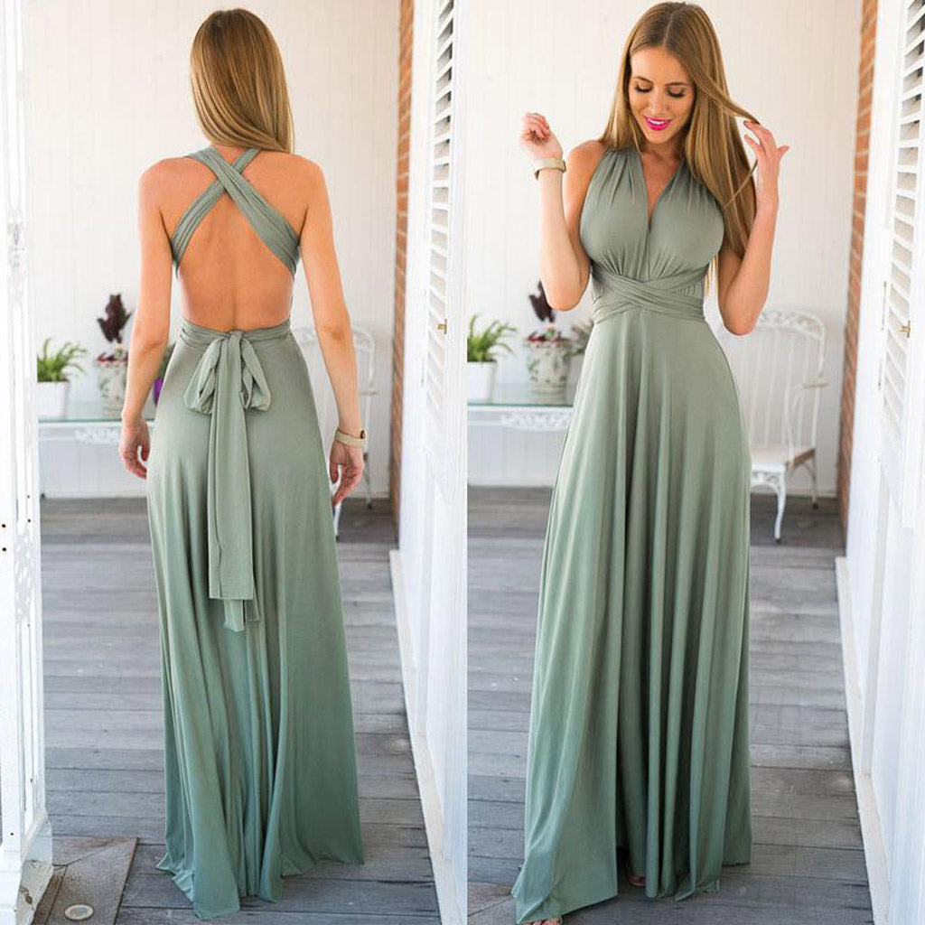 Long Convertible Floor-Length Bridesmaid Dress, V-Neck Backless Bridesmaid Dress, LB0662