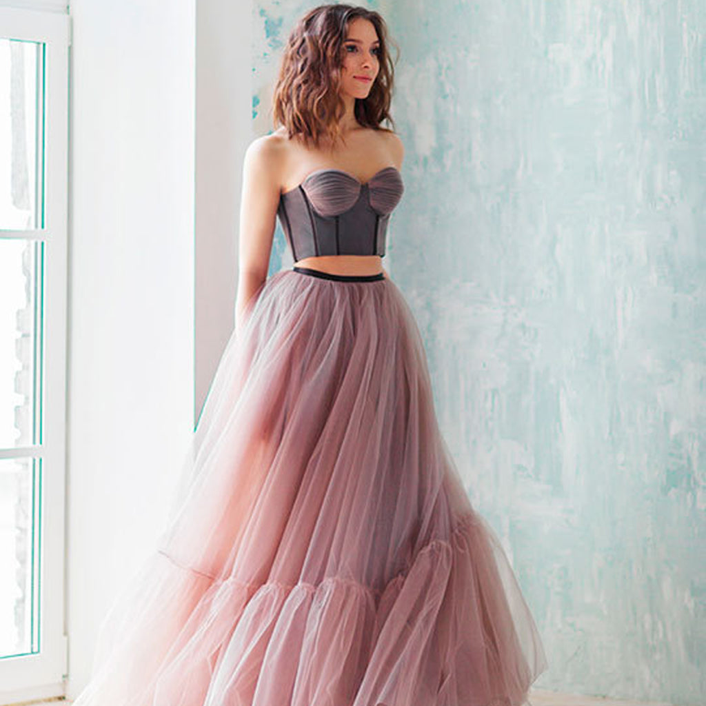 Two Pieces Sweet Heart Prom Dresses, Tulle Backless Prom Dresses, Prom Dresses Online, KX663