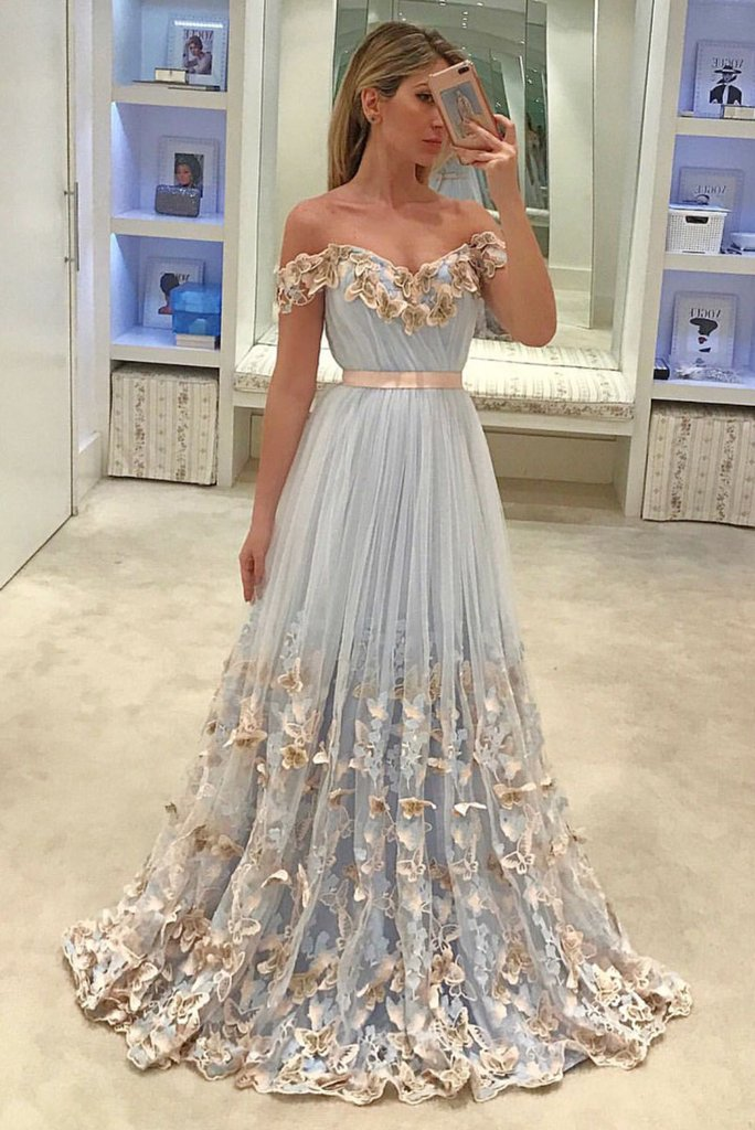 Tulle Prom Dresses, Off Shoulder Prom Dresses, Applique A-Line V-Back Prom Dress, LB0665