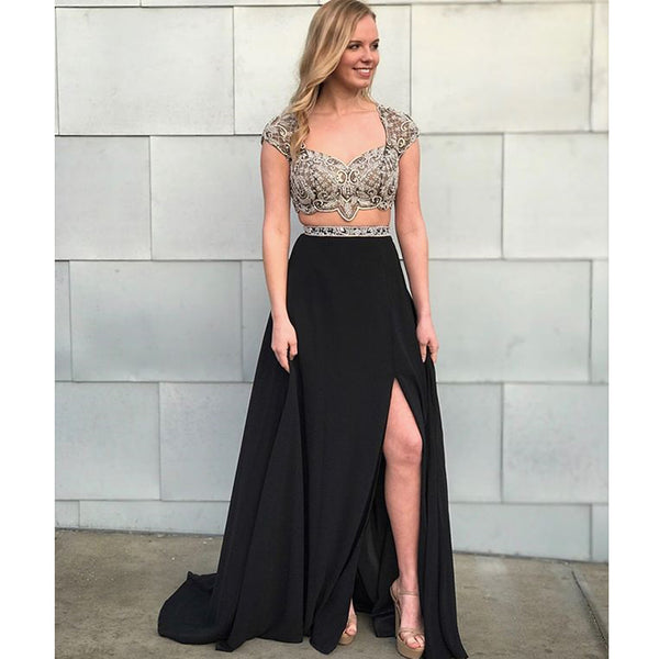 Black Two Pieces Chiffon A-Line Cap Sleeve Beaded Open-Back Slit Prom Dress, FC666