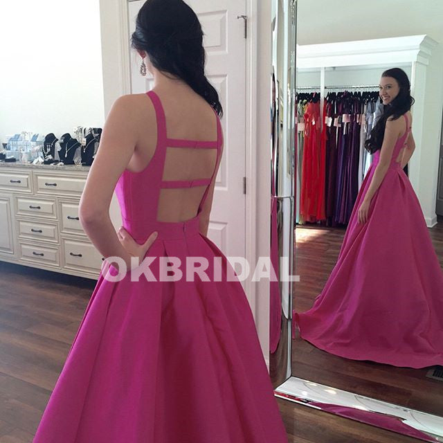 Newest Satin A-Line Prom Dresses, Simple Design Backless Prom Dresses, KX667