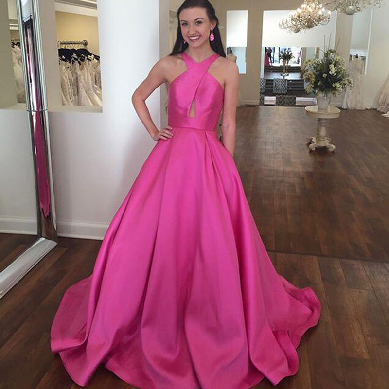 Newest Satin A-Line Prom Dresses, Simple Design Backless Prom ...