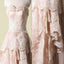 Vantage Pink Lace Sweetheart Classic Style Long A-line Wedding Party Dresses, WD0066