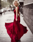 Chiffon A-Line Open-Backless Floor-Length Prom Dress, FC671