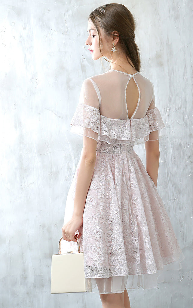 Short Homecoming Dress, Tulle Homecoming Dress, Short Sleeve Homecoming Dress, Lace Junior School Dress, Knee-Length Homecoming Dress, Cute Homecoming Dress, LB0675