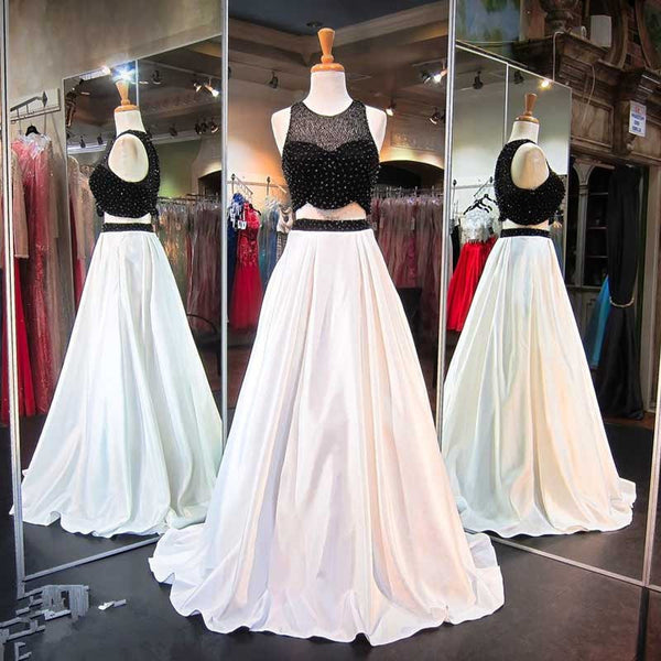 Two Pieces A line Evening Prom Dresses, Sexy Black and White Party Prom Dress, Custom Long Prom Dress, Cheap Party Prom Dress, Formal Prom Dress, 17028