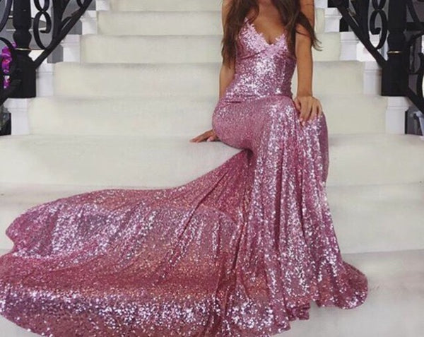 Long Spaghetti Straps Prom Dress, Sequin Mermaid Prom Dress, Sexy Prom Dress, Backless Prom Dress, V-Neck Party Dresses, Evening Dresses, LB0681
