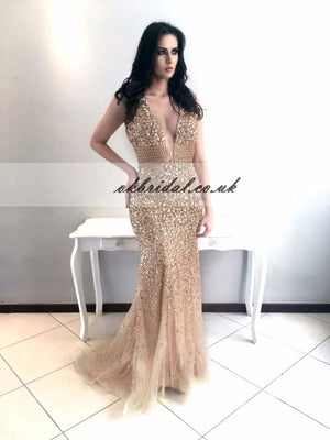 Deep V-Neck Prom Dress, Tulle Mermaid Prom Dress, Beaded Luxurious Prom Dress, KX68