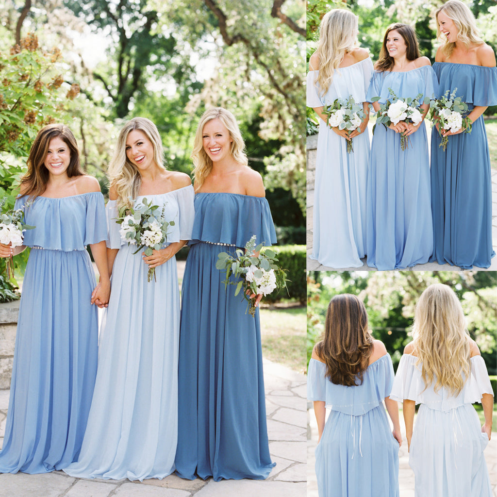 Long Bridesmaid Dress, Off Shoulder Bridesmaid Dress, Chiffon Bridesmaid Dress, Dress for Wedding, Simple Design Bridesmaid Dress, Floor-Length Bridesmaid Dress, LB0690