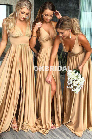 V-Neck Slit Bridesmaid Dress, Backless Jersey Sleeveless Bridesmaid Dress, KX691