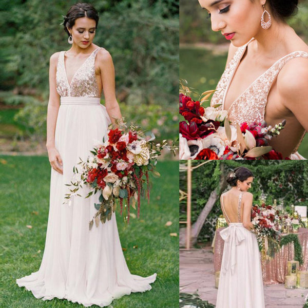 3ae694bcbf3a0 Cheapest V-Neck Sequin Top Bridesmaid Dress, Chiffon Backless Sleeveless  Bridesmaid Dress, KX693