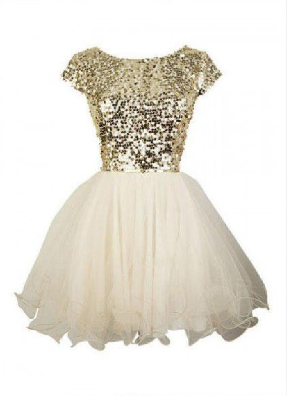 Gold sequin short sleeve Tulle homecoming prom dresses, cocktail dress, CM0012