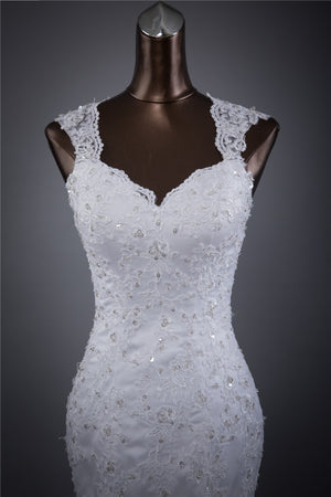 Long Wedding Dress, Lace Wedding Dress, Sleeveless Wedding Dress, Mermaid Bridal Dress, Sequin Wedding Dress, Applique Wedding Dress, Sexy Dress, LB0700