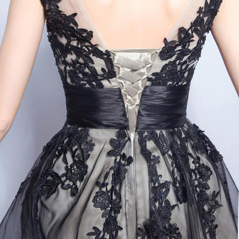 Sleeveless Applique Homecoming Dress, Tulle Tea-Length Homecoming Dress, LB0703