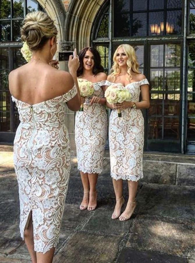 Short Off Shoulder Lace Bridesmaid Dress, Tea-Length Backless Mermaid Bridesmaid Dress, LB0706