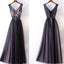V-Neck Prom Dress, Tulle A-Line Prom Dress, Applique Prom Dress, LB0713