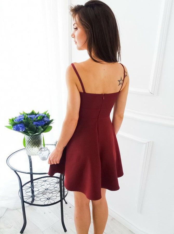 Short Homecoming Dress, Sleeveless Homecoming Dress, Spaghetti Straps Homecoming Dress, Sexy Junior School Dress, Simple Homecoming Dress, Knee-Length Homecoming Dress, LB0719