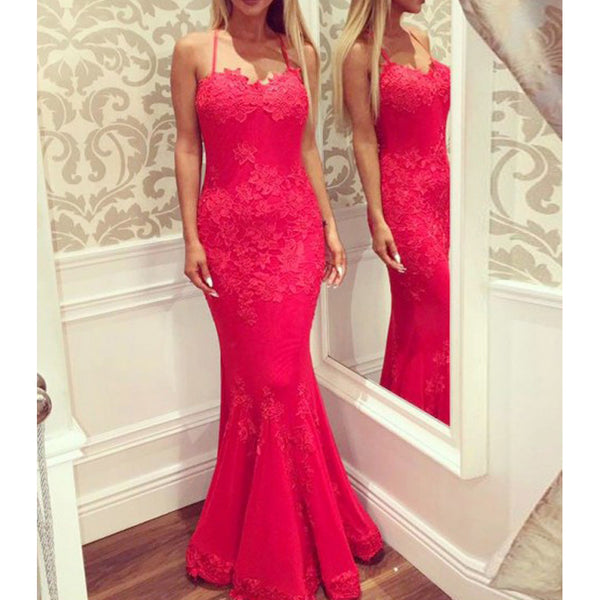 Red Spaghetti Straps Backless Prom Dresses, Popular Lace Applique Mermaid Prom Dresses, KX722