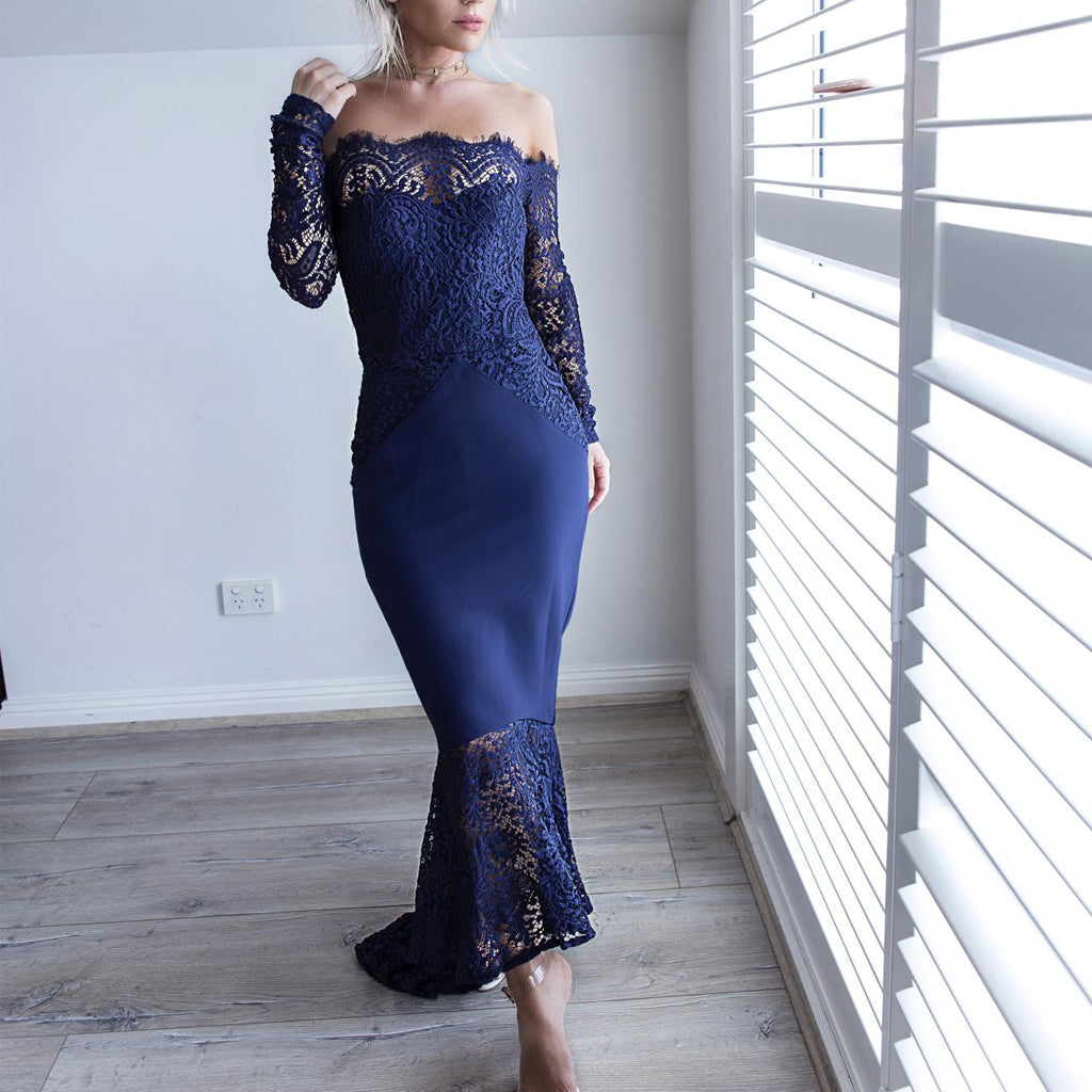Off Shoulder Prom Dress, Jersey Mermaid Long Sleeve Prom Dress, Lace Party Dresses, LB0729