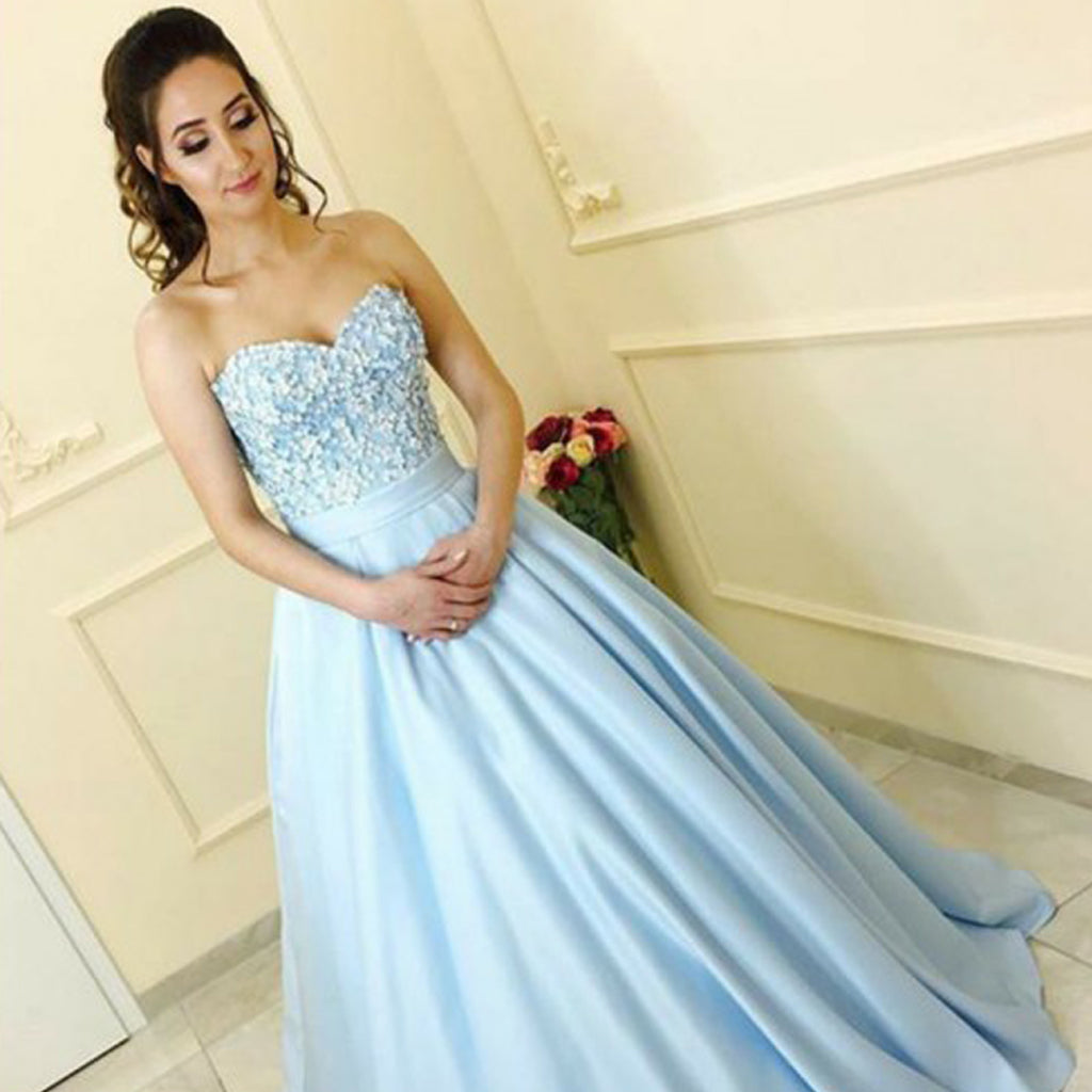 Sweet Heart Beaded Top Prom Dresses, Satin A-Line Prom Dresses, KX731