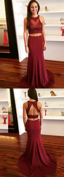 Sexy Mermaid Two Pieces Prom Dress, Sleeveless Open-Back Lace Top Prom Dress, KX735