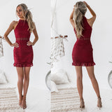 Halter Homecoming Dress, Sleeveless Lace Junior School Dress, Sexy Homecoming Dress, LB0735