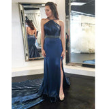 Sheath Sexy Slit Backless Elastic Satin Beaded Prom Dresses, FC736