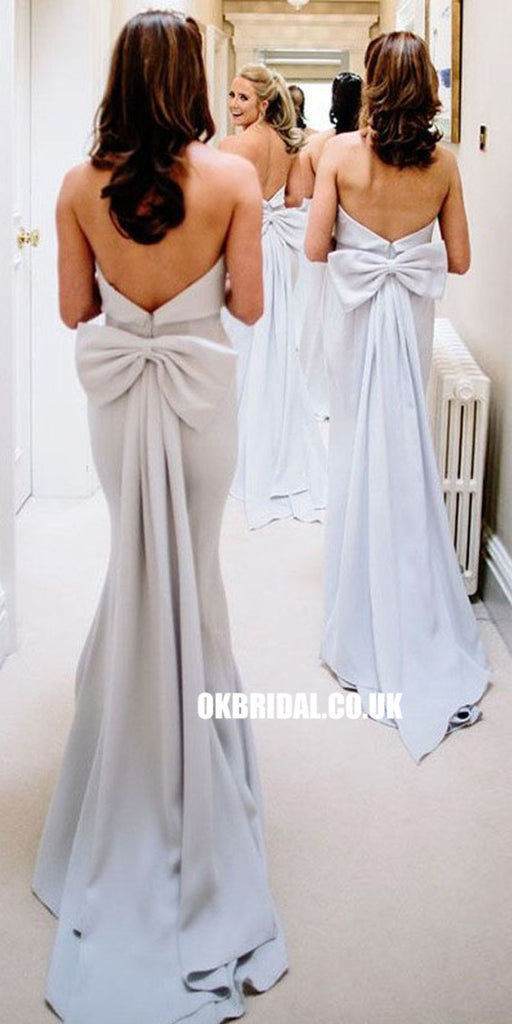 Elegant Mermaid Backless Bridesmaid Dress, Bridesmaid Dress with Bow-Knot, KX741