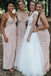 Deep V-Neck Spaghetti Straps Backless Sheath Jersey Bridesmaid Dresses, KX742