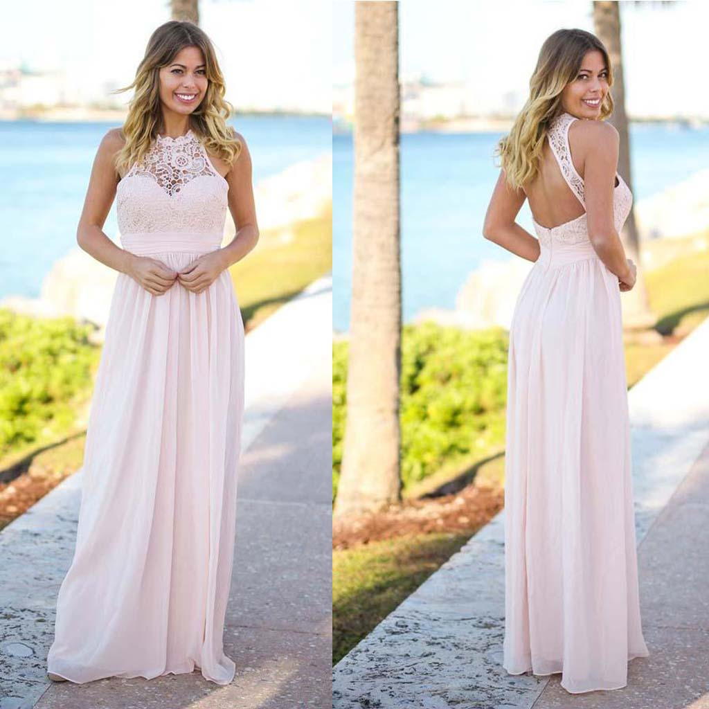Long Bridesmaid Dress, Sleeveless Bridesmaid Dress, Lace Bridesmaid Dress, Dress for Wedding, Chiffon Bridesmaid Dress, Open-Back Bridesmaid Dress, LB07738