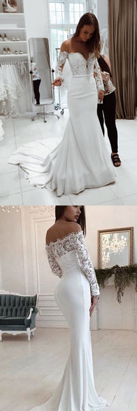 Gorgrous Off Shoulder Mermaid Wedding Dresses, Lace Top Long Sleeve Tulle Bridal Gown, KX750
