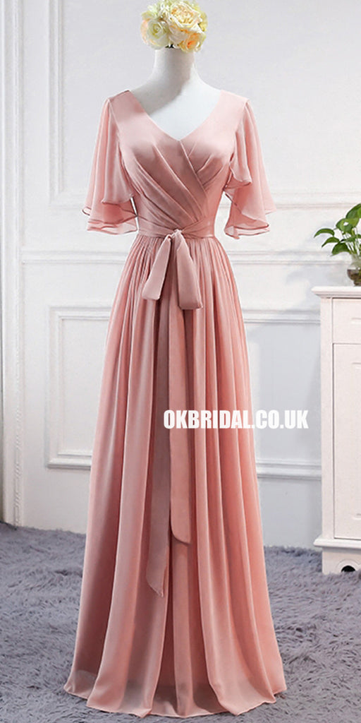 Mismatched Chiffon A-Line Simple Bridesmaid Dress, Lace-Up Floor-Length Bridesmaid Dress, LB0750