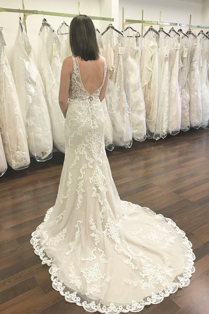Best Sale V-Neck Lace Long A-Line Sexy Backless Tulle Wedding Dresses, KX752