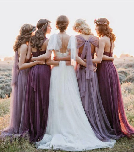 Convertible Mismatched Tulle Long Wedding Party Dresses Cheap Charming Bridesmaid Dresses, WG34