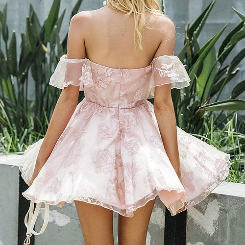 Off Shoulder Homecoming Dress, Tulle Applique Homecoming Dress, LB0763