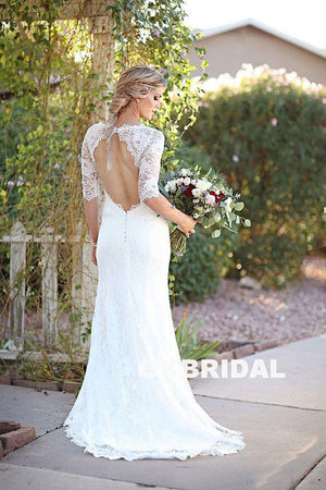Gorgeous Lace Half Sleeve Long Mermaid Open-Back Wedding Dresses, KX763