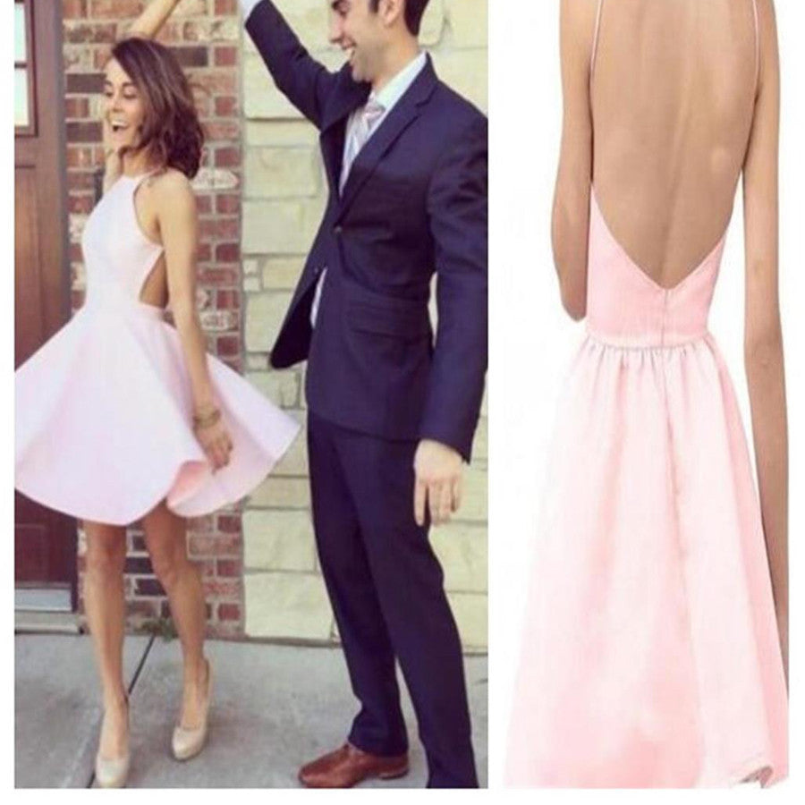 Short pink simple open back sexy for teens homecoming prom gowns dress,BD0076