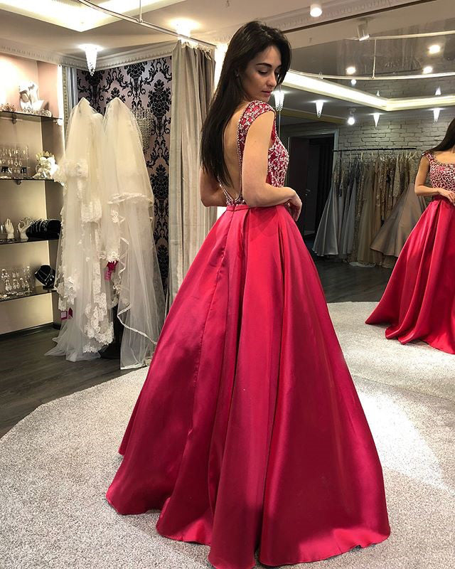 Simple Satin A-Line Prom Dresses, Beaded Backless Floor-Length Prom Dresses, KX770