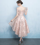 Off Shoulder Short Sleeve Homecoming Dress, Tulle High-Low Applique Homecoming Dress, LB0771