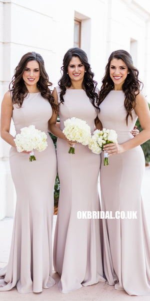 Pink Elegant Mermaid Sleeveless Bridesmaid Dress, Charming Floor-Length Bridesmaid Dress, KX782