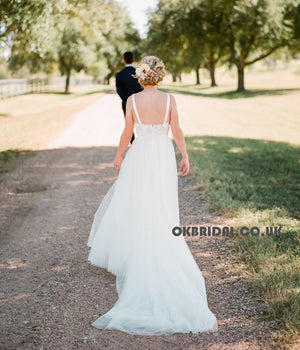 Charming Long Lace Top A-Line Wedding Dress, Tulle Round Neckline Backless Wedding Dress, KX785