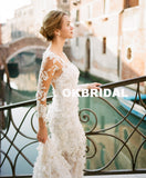 Charming Long Sleeve Wedding Dress, Luxury Lace Mermaid Wedding Dress, KX788